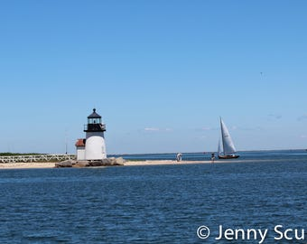 Nantucket Lighthouse with Sailboat print