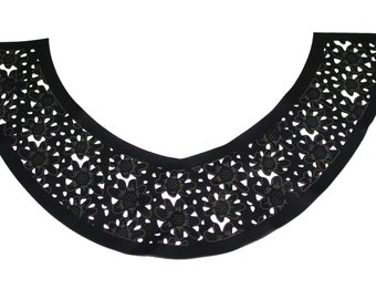 Black Laser Cut Faux Leather Necklace Collar with Floral Pattern for Garments,Crafts,Sewing,DIY