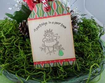 12 Days of Christmas Tags, Christmas Tags, Holiday Tags, Gift Tag, Partridge In A Pear Tree