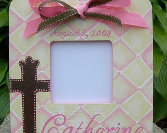 Girl's Custom Painted Baptism Christening Confirmation  Boutique Picture Frame Optional Colors