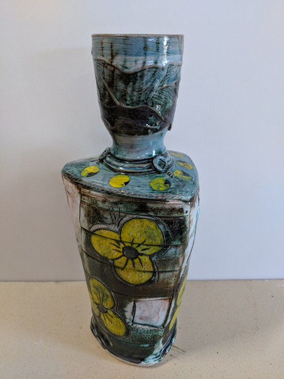 Handmade Ceramic Vase with Yellow Pansy