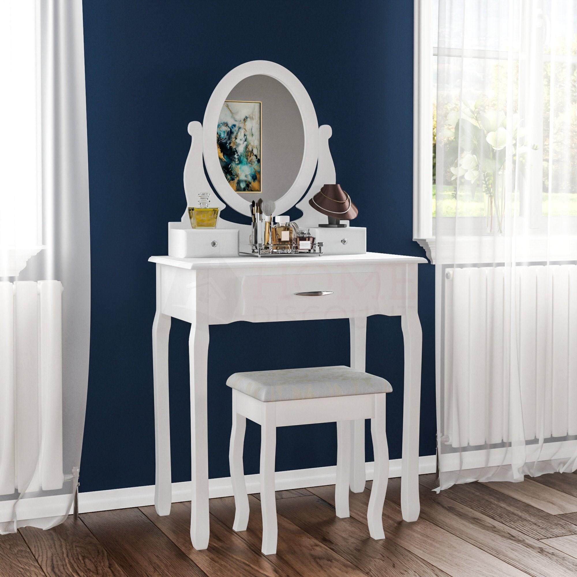 Nishano 3 Schublade Dressing Tisch Schublade Hocker verstellbarspiegel Schlafzimmer Makeup Eitelkeit Schreibtisch wei