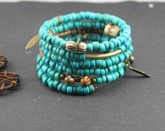 Cuff ethnic memory MULTISTRAND wrap, turquoise and bronze beads coco, Horn, wood, seeds, charms