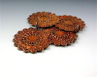 Enameled Round Filigree / Autumn Enamel / Made to order