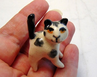 Kitten Terrarium Miniature - Black and White Cat - Miniature Figurine - Terrarium Miniature - Cat Mini - Spotted Cat - Kitten Figurine