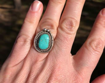 Vintage Turquoise Ring, Sterling Silver Turquoise Ring, Southwestern Jewelry, Navajo
