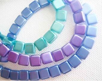 2 hole tile beads Czech glass 6mm square choose colour 25 pieces