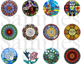 "Stained Glass Magnets, Stained Glass Pins, Stained Glass Windows Image, 1"" Inch Flat Back Buttons, Cabochons, Badges, 12 Ct.,"