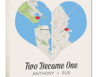 Split Heart Two Map Locations Two Became One,  Personalized Couple, Wedding Anniversary Gift