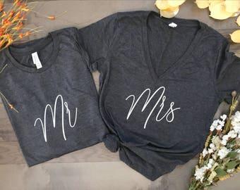 mr and mrs, honeymoon shirts, wedding shirts, couples shirts, matching shirts, wedding gift, hubby wifey, just married shirts