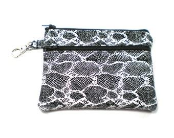 Larger Zippered Wallet Change Purse Gadget Case Black and White Snake Skin 5097 5098
