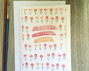 Happy Birthday Hand Made Watercolour Greeting Cards