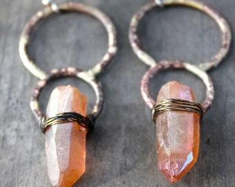 Circle Earrings Raw Crystal Earrings Hammered Brass Earrings