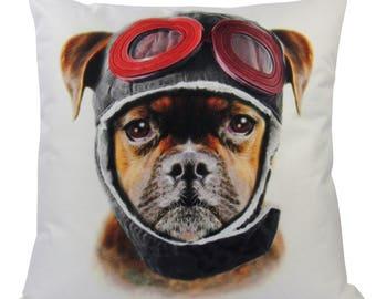 Pilot Dog | Pillow Cover | Dogs | Home Decor | Custom Dog Pillow | Dog Mom | Airplane Pilot Dog | Pillow | Large Dog | 18 x 18 | Dog Lover