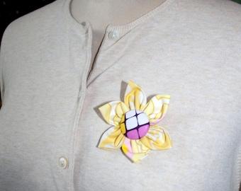 Yellow Fabric Flower Brooch, Flower Pin - Handmade Fabric Flower