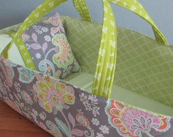Doll Carrier, Will Fit Bitty Baby and Wellie Wisher Dolls, Paisley with Green Lining, 16 Inches Long, Doll Basket