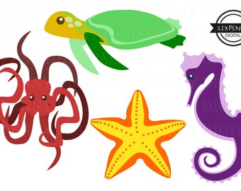 Sea Creatures Commercial Use Clipart Red Octopus Sea Turtle Yellow Starfish Purple Seahorse Colorful Sea Animals Clip art Ocean