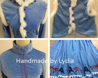 Handmade - New Olaf Adventure Anna Costume, Anna Dress, Anna Cosplay Dress Adult/kid, Anna Cosplay Costume Adult/Kid