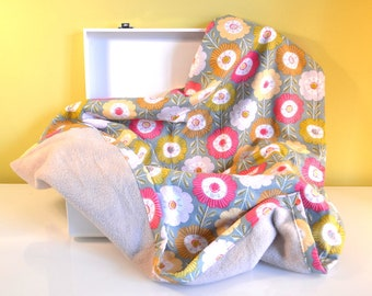 Fleece baby blanket and cotton pink and green - floral design