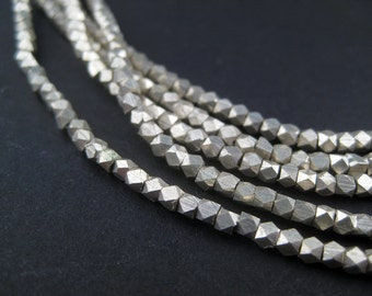 250 Tiny Diamond Cut Faceted Silver Beads 2mm - Small Metal Spacers - Metal Beads - Jewelry Making Supplies (FCT-USU-SLV-140)