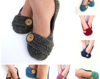 CHOOSE YOUR COLOUR Crochet House Slippers Charcoal Grey Wool with Buttons Tab for Women Size 5, 6, 7, 8, 9, 10 Made To Order