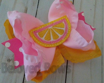 Lemon Wedge Hair Bow, Layered Summer Hair Bow, Lemonade Birthday Hair Bow, Ruffle Hair Bow, Pink Lemonade Hair Bow, Pink and Yellow Bow