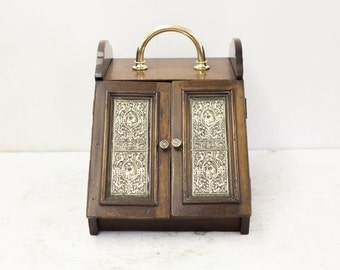 Antique English Double Door Coal Scuttle with Embossed Brass Panels