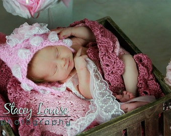 Pixie Hat- Ribbons and Lace- MADE to ORDER- newborn, toddler photo prop