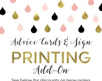 Printing Add-On for Advice for the Newlyweds Cards and Sign