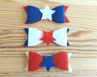 Felt bow hair accessories,Red,white,blue Felt Bow,Memorial day,4th of July,Celebration favor,Independence day