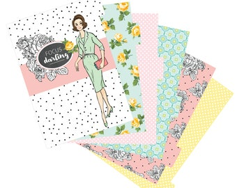 Printable Focus Darling A5 Planner DIVIDERS - Digital File Instant Download- dashboard, planning, pastels, florals, Spring, retro girl