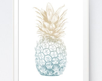 Pineapple Print, Brown and Blue Pineapple Decor, Blue Pineapple Wall Art Silhouette, Neutral Wall Print, Beige Wall Print, INSTANT DOWNLOAD