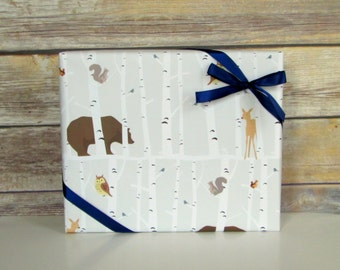 Forest Friends Wrapping Paper, 2 ft. x 10 ft. Roll, Baby Shower Gift Wrap, Boy's Birthday, Grey and White Woodland Wrap,