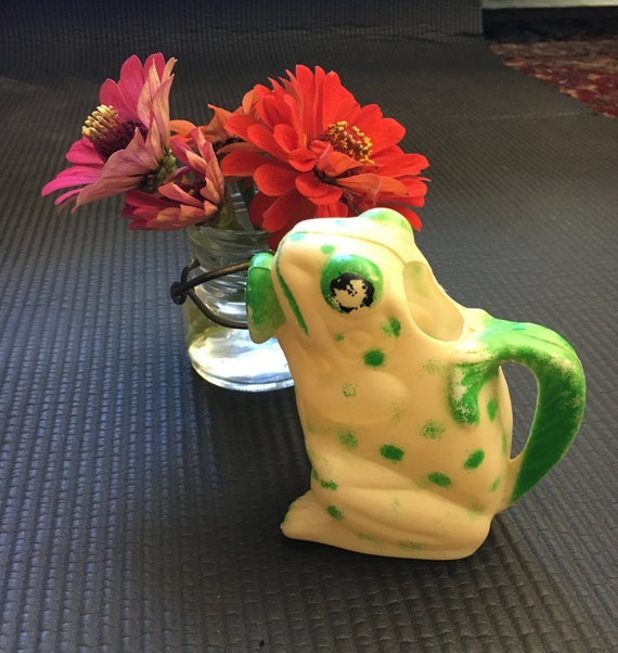 RARE Child Size Plastic Frog Mid Century Watering Can