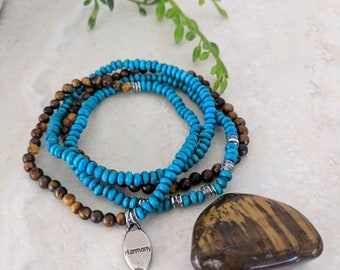 Tigers Eye Mala, Turquoise Wood, Harmony Charm, Natural Gemstone Bracelet, Meditation Jewelry, Mala Bracelet, Womens Stretch Bracelet