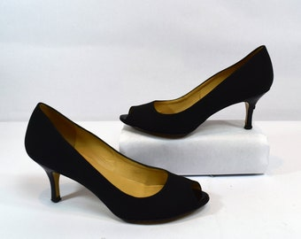 Bruno Magli Vintage 90s Black Canvas Peep Toe Heels Size 6.5B Made in Italy