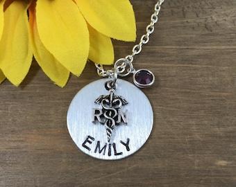 Personalized RN Necklace - Handstamped Name Necklace - Registered Nurse Gift - RN Necklace - Nursing School Graduate Gift