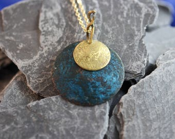 copper pendant with blue patina and brass overlay  (082017-103)