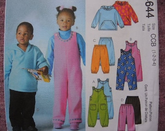 2000s McCalls sewing pattern 4644 Toddlers' and children's top jumpsuits and pants UNCUT size 1-2-3-4