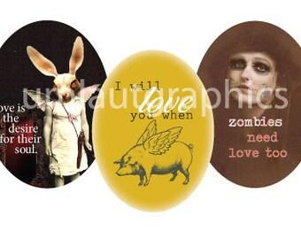30mm x 40mm Digital Collage Sheet Oval Strange Romantic Odd Valentine Printable Downloadable