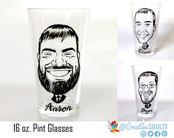 Vintage Pints, Groomsmen Gifts, Pint Gifts, Pints Glass, Caricature Glass Groomsman, Custom Pints Gift