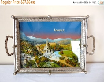 50% DISCOUNT LOURDES French Vintage Tray Souvenir From LOURDES, Kitch religious object