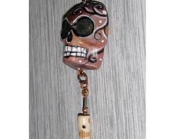 Old Rust Skull Halloween El Dia de los Muertos OOAK Pendant
