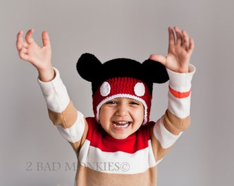 Mickey Mouse hat, Mickey Mouse costume, Toddler boy hat, Toddler boy Halloween costume, Baby costume, Toddler winter hat