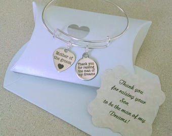 Mother In Law, Mother Of The Groom Gift, Thank You For Raising The Man Of My Dreams, Mother In Law Bracelet, SUMMER SALE