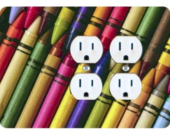 Coloring Crayons Double Duplex Outlet Plate Cover