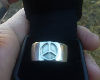 Wide band sterling silver peace ring. Handcrafted