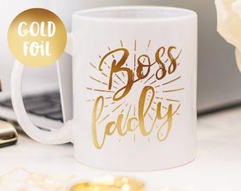 Boss lady mug, Gold foil mug beautiful gift for her