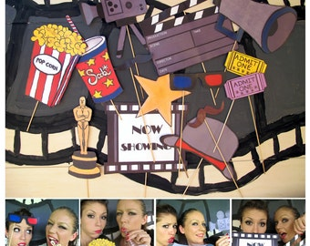 personalized movie photo booth props- perfect for a movie night, oscar bash, hollywood party or cinema birthday - clapper/sign personalized