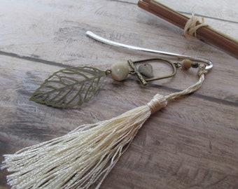 Bookmark in silver - bird and leaf bronze metal - tassel - ref 90